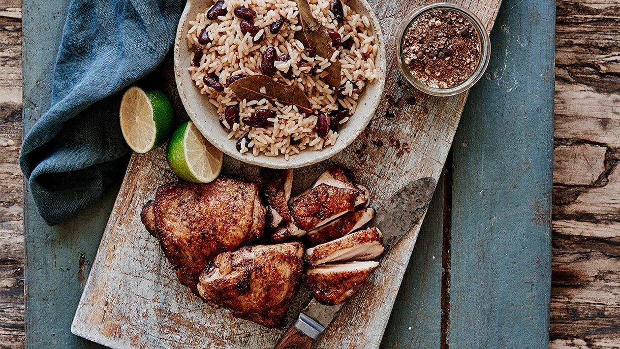 Jerk-kylling med ris og bønner – Oppskrift