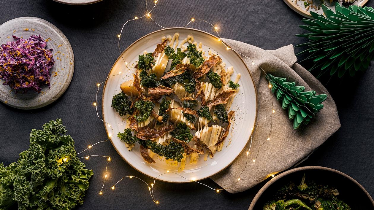 Bakt sellerirot med sprøtt skall, grønnkål og miso – Oppskrift